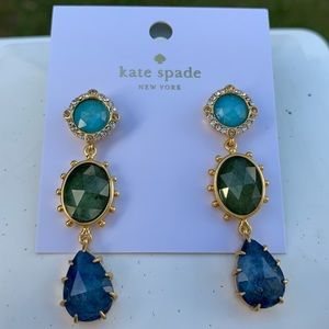 Kate Spade ♠️ Blue Green Druzy Stone Earrings NWT
